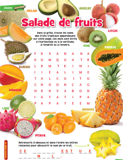 Grille : Salade de fruits