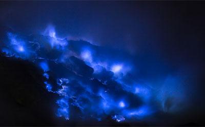 Une coulée de lave bleue