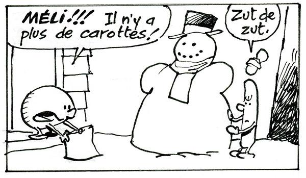 Coloriage : Méli et Mélo et les carottes des neiges