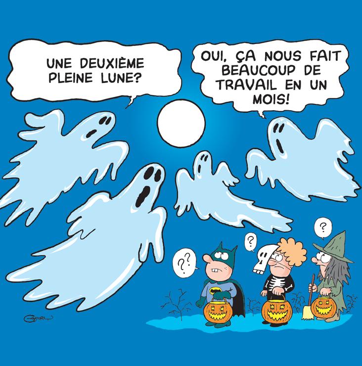 Caricature sur la lune bleu de l'Halloween 2020.
