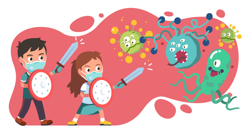 Enfants combattant des microbes avec une armure et une épée.
