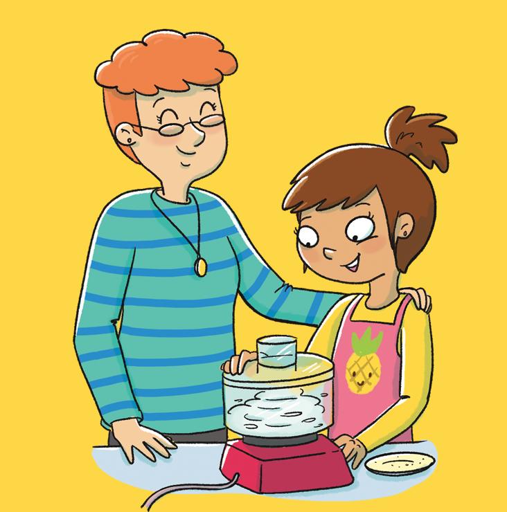 Jeune fille cuisinant avec une adulte.